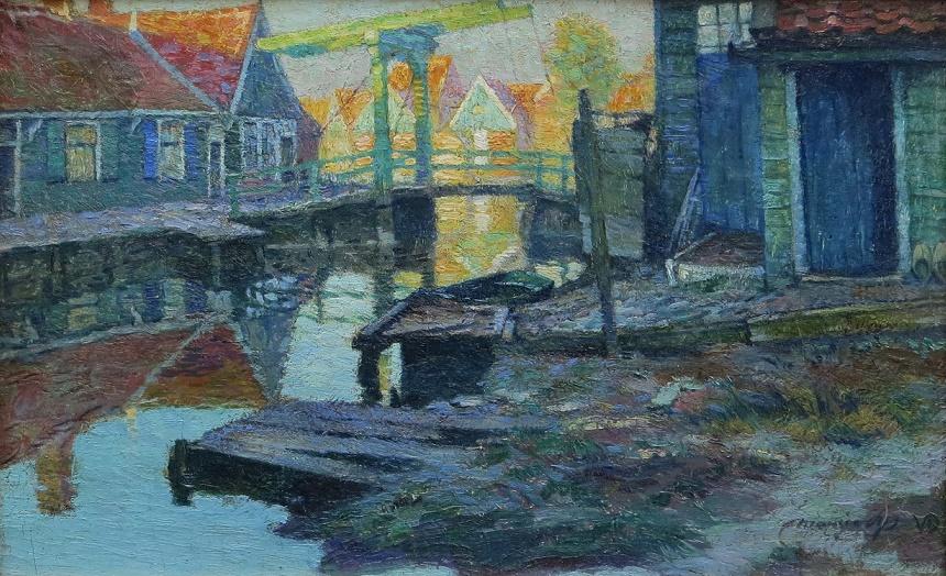 Groen ophaalbrugje in Volendam