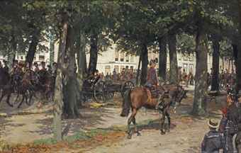 A military procession on the Lange Voorhout, The Hague