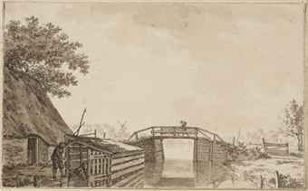 A bridge over a canal, with a figure opening a boathouse on the left