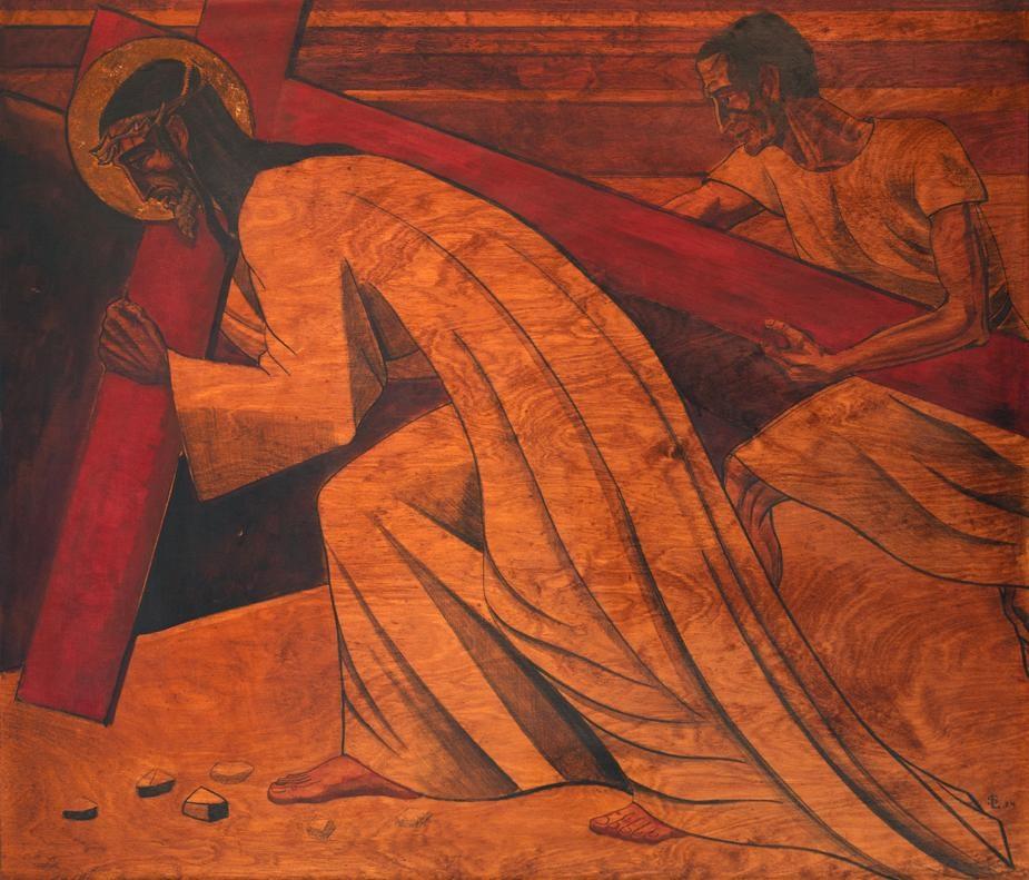 Simon van Cyrene helpt Jezus het kruis te dragen.