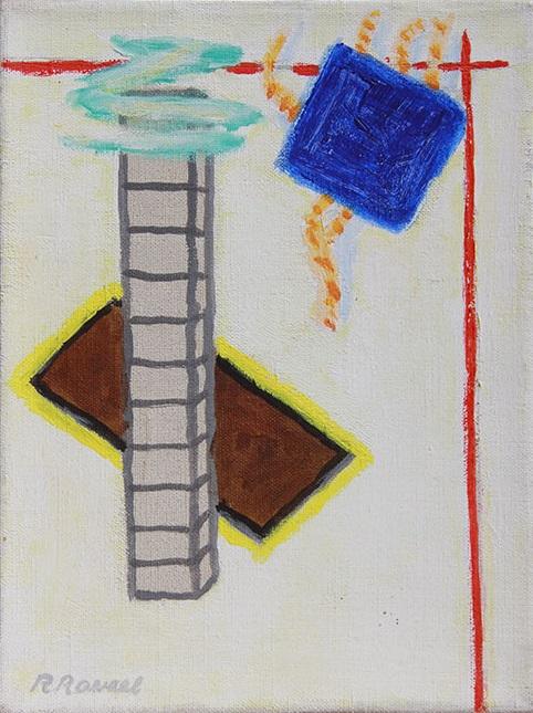 Compositie met blauw vierkant