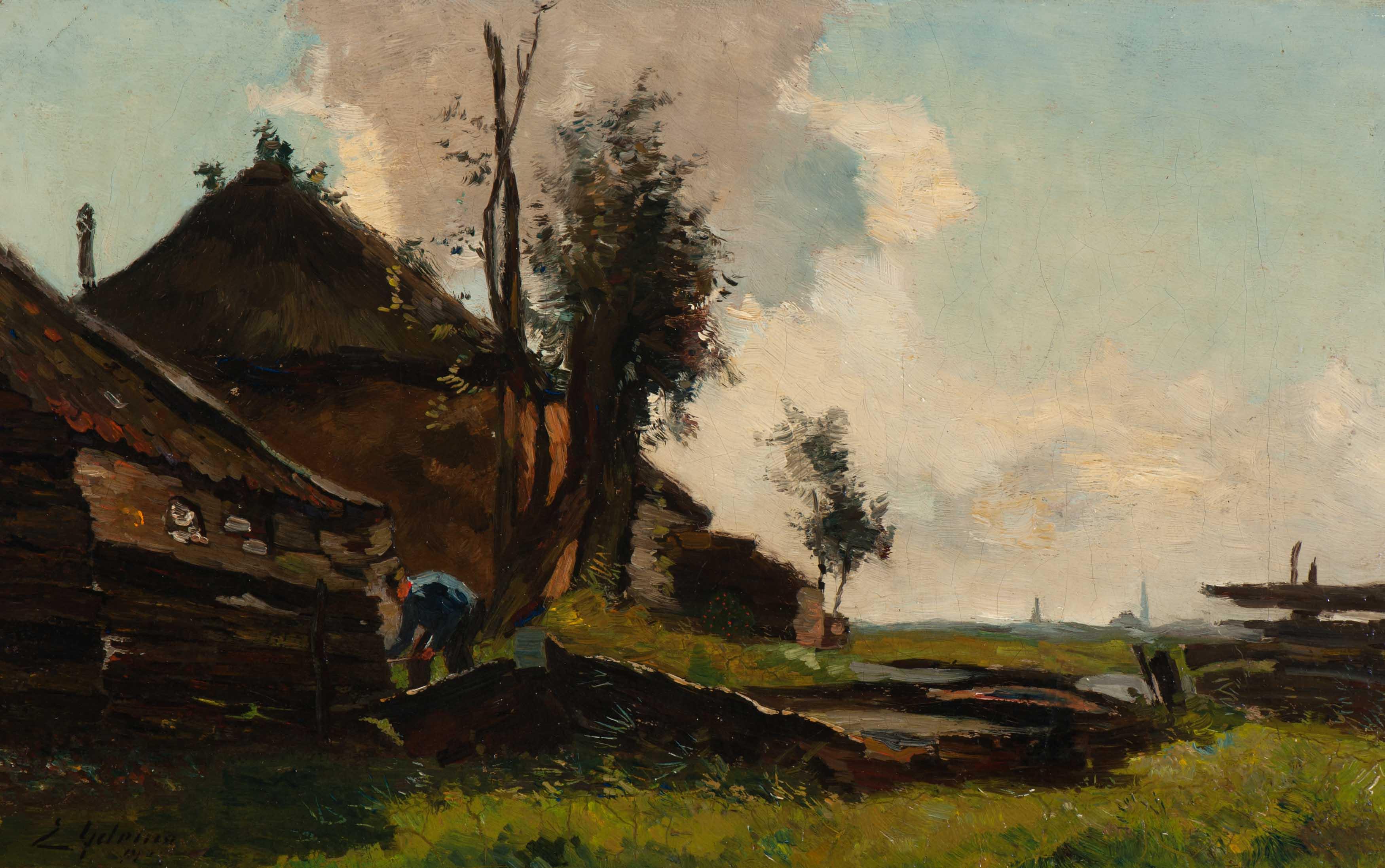 Boerderij in een polderlandschap