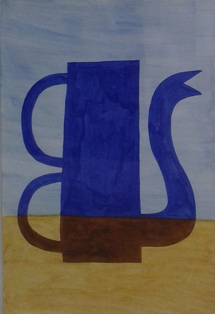 Blauwe koffiekan