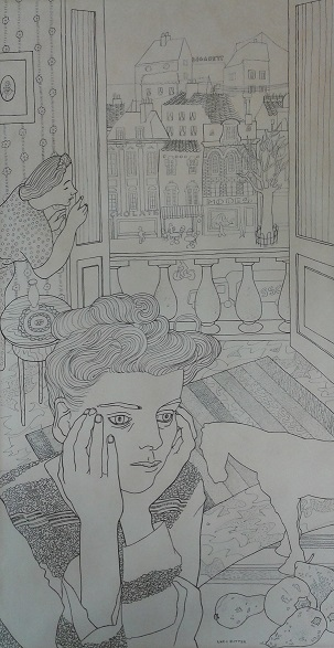 Willy van Bohemen in haar appartement met op de achtergrond een winkelstraat